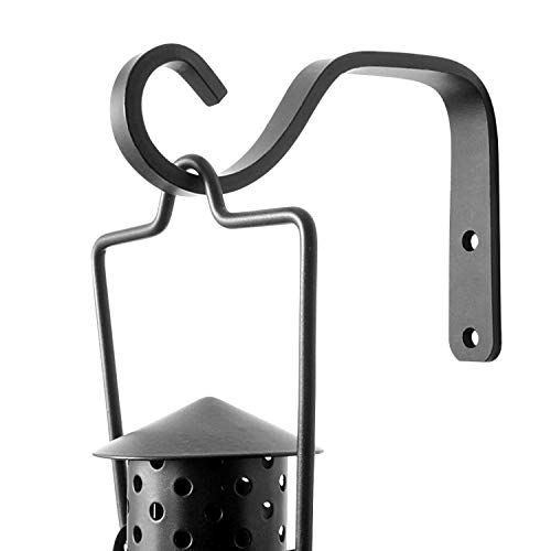 2Pcs 5-Inch Decorative Outdoor Iron Wall Hooks for Hanging Lanterns Jars Sconces Solar Lights Small Plants Bird Houses, Black