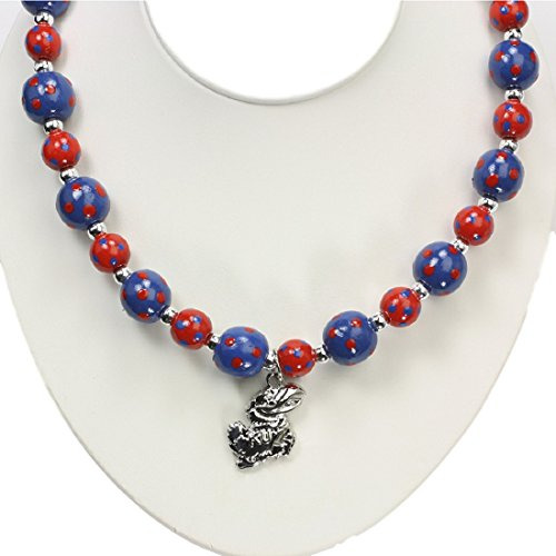 Kansas Jayhawks Polka Dots Wood Bead Stretch Necklace