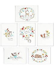 Hallmark Baby Shower Thank You Cards Assortment, Woodland Animals (48 Cards with Envelopes for Baby Boy or Baby Girl) Deer, Owl, Bear, Fox