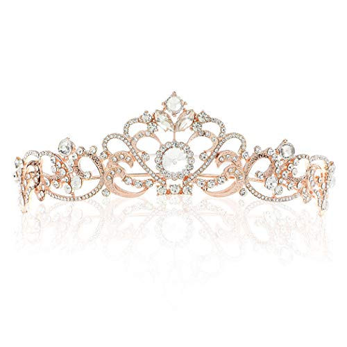 Bhg Rose - Barogirl Rose Gold Wedding Crowns and Tiaras Princess Crown Vintage Tiara Rhinestones Bridal Headpiece for Women (Rose Gold)