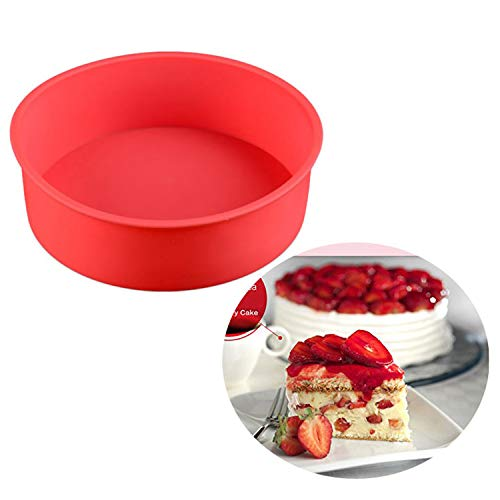 6inch Round Silicone Cake Chocolates Mousse Jelly Mold for Halloween Birthday Festivals Carnival Baking Tool Red kangxiaoyan ()