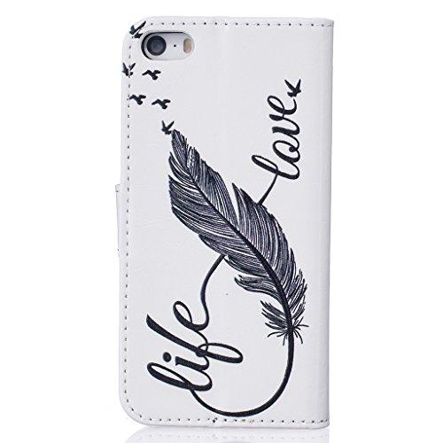 ZXLZKQ Coque pour iPhone 5 5S SE Étui PU Cuir Portefeuille Flip Cover Case magnétique Housse De Plumes Swallows Amour {LOVE} Noir Coque pour Apple iPhone 5 5S SE