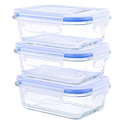 Kinetic 6 Piece Glasslock Elements Series Rectangular Food Storage Set with Vented Lids