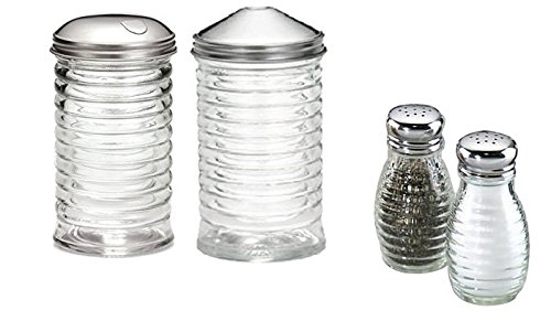 ((Set of 4) Beehive Sugar Pourer and Powdered Creamer Dispenser Set 12 oz, with Salt and Pepper Shakers 2oz, Glass with Stainless Steel Lids)