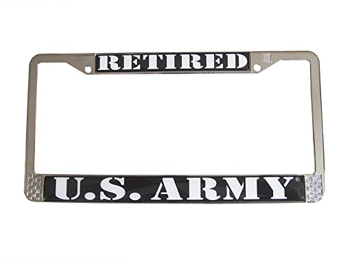 US Army Retired Auto License Plate Chrome Frame - License Plate Retired Army