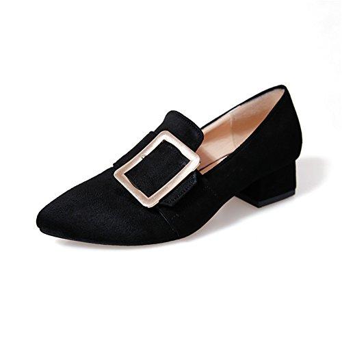 MSKAY Women Shoes Mode Spitze Zehe Pumps, Wildleder Leder Block Ferse Slip-On Damen Schuhe Schwarz