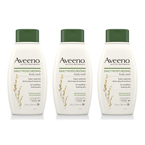 (Aveeno Daily Moisturizing Body Wash with Soothing Oat, Creamy Shower Gel, Soap-Free and Dye-Free, Light Fragrance, 12 fl. Oz (Pack of 3))