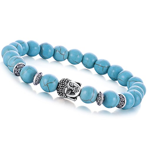 December Birthstone Rosary Bracelet (Joya Gift Turquoise 8MM Round Beads Buddha head Gemstone Chakra Bracelet for Women Charms Men Jewelry)
