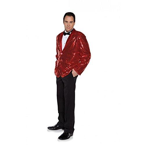 Underwraps Men's Plus-Size Sequin Jacket, Red, XX-Large (Secret Agent Tuxedo Adult Mens Costume)
