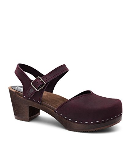 Sandgrens Swedish Wooden High Heel Clog Sandals for Women | Victoria Plum, EU 39 - Purple Tall Shoes