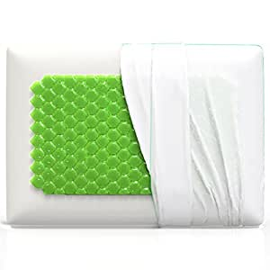 Equinox Cooling Gel Memory Foam Pillow - 24x16 inches, Standard/Queen Size Bed Pillow - New Cooling Gel Technology with Removable Pillow Case - Dust Mite Resistant and Hypoallergenic