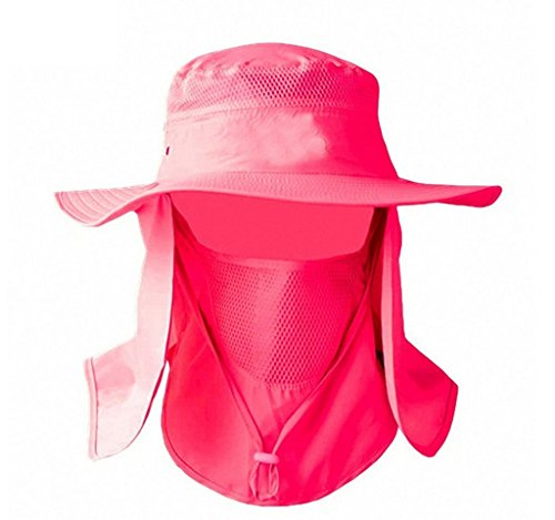 Mesh Flap Hat - YR.Lover Outdoor UV Sun Protection Wide Brim Fishing Cap -Men and Women Face Cover Summer Removable Mesh Neck Face Flap Gardener Hat For Outdoor Sports & Travel