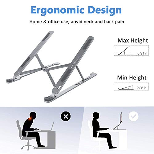 【Upgrade】 Laptop Stand for Desk, Stable Aluminum Computer Riser, 8 Angles Adjustable Notebook Stand Mount Holder for MacBook Pro Air, HP, Tablet, iPad, More 10-17.3 Inch, Supports up to 44lb