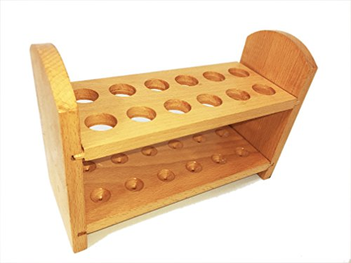 Sciencent Wooden Test Tube Rack Stand, 12 Test Tube Holding Capacity, Holes Measuring 22 mm Dia