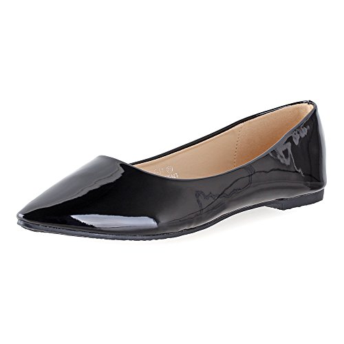 BellaMarie Angie-28 Women's Classic Pointy Toe Ballet Flat Shoes (6.5 B(M) US, Black) (Best Shoes To Wear With Black Leggings)