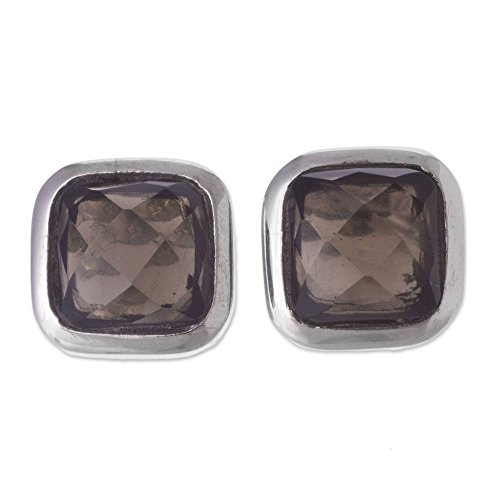 - NOVICA Smoky Quartz .925 Sterling Silver Button Earrings, Square Treasures'
