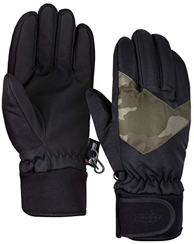 Insulated Winter Cold Weather Ski Gloves for Kids (Boys and Girls) Waterproof Windproof (Black)