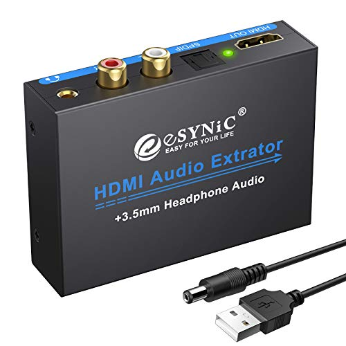 eSynic 1080P HDMI Audio Extractor HDMI to HDMI + Optical TOSLINK SPDIF + Analog RCA L/R Stereo Audio Video Splitter Converter for Blu-ray Player Xbox PS3 PS4 Support Full HD1080p 3D (Hdmi Rca Splitter)