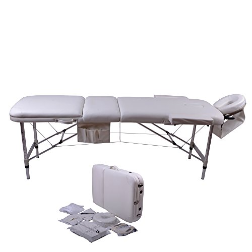 Windaze Massage Table Spa, 3 Section Adjustable Aluminum Leg Portable Massage Table with Carrying Bag and Additional Accessories, White by windaze