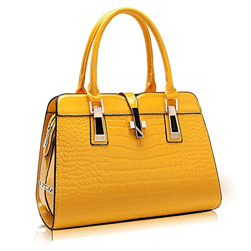 Women's Tote Top Handle Handbags Crocodile Pattern Leather Cross-body Purse Shoulder Bags (Yellow)