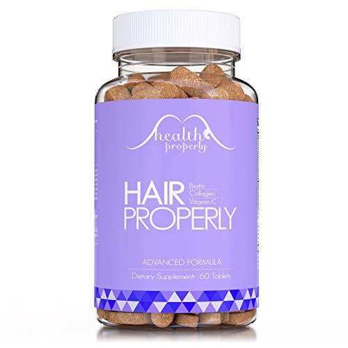 HEALTH PROPERLY Hair Vitamins Now with Collagen | New Formula Scientifically Made for Faster Hair Growth, Radiant Skin & Stronger Nails | Biotin Keratin & Bamboo | Hair Product for Men & Women