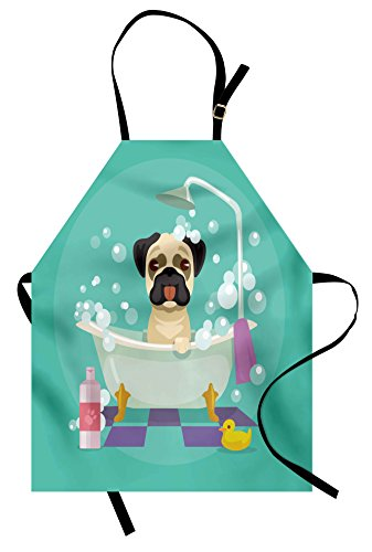 Lunarable Nursery Apron, Pug Dog in Bathtub Grooming Salon Service Shampoo Rubber Duck Pets in Cartoon Style Image, Unisex Kitchen Bib with Adjustable Neck for Cooking Gardening, Adult Size, Teal