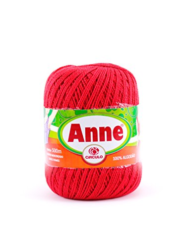 Anne 100% Cotton Threads in 10 Colors in 547 Yards Reg. 8 Suitable for 1.75mm Needle and 3mm to 3.5mm Crochet Hook for Weaving. Great use for Sewing, Arts and Crafts Projects. (Red)
