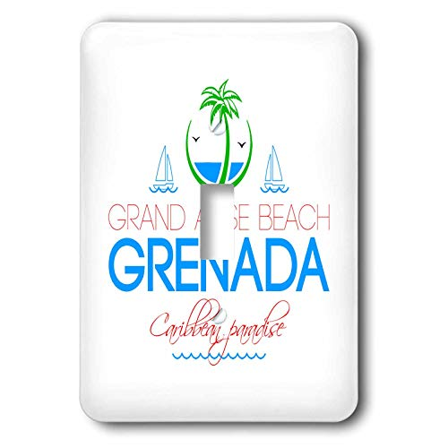 3dRose Alexis Design - Caribbean Beaches - Grand Anse Beach Grenada Caribbean paradise text and images - Light Switch Covers - single toggle switch (lsp_303783_1)