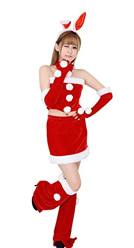 [YFFaye Women's Sweet Sexy Rabbit Ear Christmas Santa Suit Costume] (Abba Jumpsuit Costume)