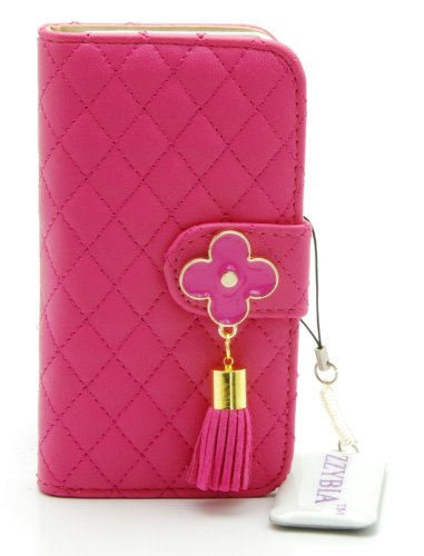 ZZYBIA® IP5 QF sp Shocking Pink Leatherette Stand Case Card Holder Wallet for Apple Iphone 5 5s