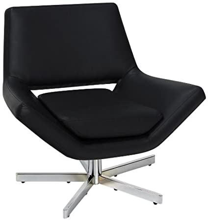 Incroyable Ave Six Yield Modern 31 Inch Wide Lounge Chair In Faux Leather With Chrome  Finish