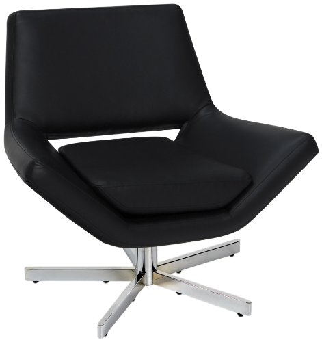 AVE SIX Yield Modern 31-Inch Wide Lounge Chair in Faux Leather with Chrome Finish Base, Black - York Lounge Chair