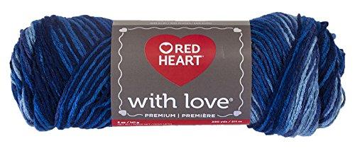 Red Heart With Love Yarn, Deep Blues