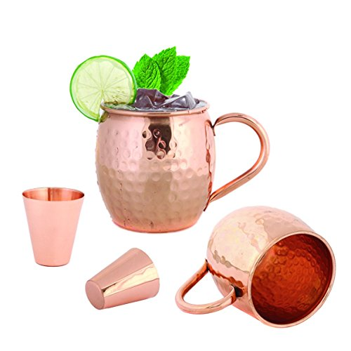 Set of 2 Moscow Mule Copper Mugs 16 OZ - Two Copper Shot Glass Included - 100% Solid Pure Copper Hammered Barrel Cup Mug with No Inner Lining by Foodie (Vintage 2 Cup)