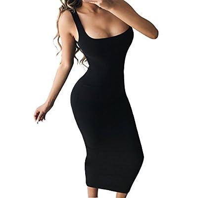 BEAGIMEG Women's Basic Tank Bodycon Sleeveless Solid Casual Long Dress: Clothing