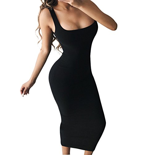 BEAGIMEG Women's Basic Tank Bodycon Sleeveless Solid Casual Long Dress Black ()