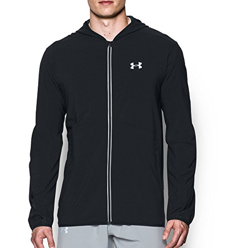 Jacket Woven Stretch - Under Armour Men's Run True Jacket, Black (001)/Reflective, X-Large