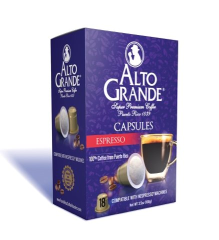Alto Grande Espresso Super Premium Puerto Rico Coffee Capsules for Nespresso Machine (1 Box of 18 Capsules)