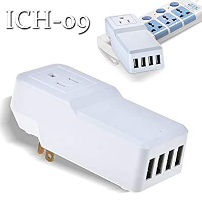 ABLEGRID® 25W 4-Port USB Wall Charger, Multi-Port USB Charger Rapid Station Charging For Apple ,Android and Tablet(White) (ICH-09SA25 (White))