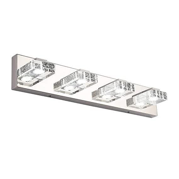Bathroom Light,SOLFART 4 Lights Modern Glass Stainless Steel Vanity Wall Light Over Mirror Long LED Dimmable Bathroom Lighting Fixtures - 1.SAFETY : CE / ROHS/ QCQ certificated. IP44 waterproof and dust proof capacity. 2.EASY TO INSTALL: No switch or cord on the light. JUST Connect to the reserved wire directly,Suitable US junction box standard. 3.ENERGY SAVING: 16W LED Vanity Lights / White Light. Although only 16W, but he offers brightness more than ordinary 80W bulbs - bathroom-lights, bathroom-fixtures-hardware, bathroom - 41gknzQsTJL. SS570  -