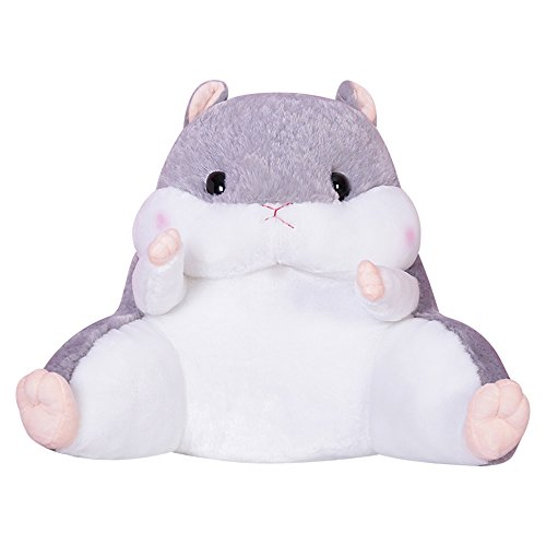 WAIT FLY Lovely Cartoon Hamster Shaped Plush Lumbar Pillows Waist Rest Cushion Bedrest Reading Pillows Chair Back Cushion for Bedroom Office -