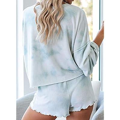 Asvivid Womens Tie Dye Printed Ruffle Short Pajamas Set Long Sleeve Tee and Pants PJ Set Loungewear Nightwear Sleepwear at Women's Clothing store