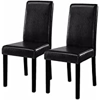 Kize2016 Set of 2 Black Elegant Design Leather Contemporary Dining Chairs Home Room