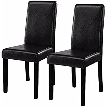 Xtremepowerus urban style solid wood for Black leather parsons chairs