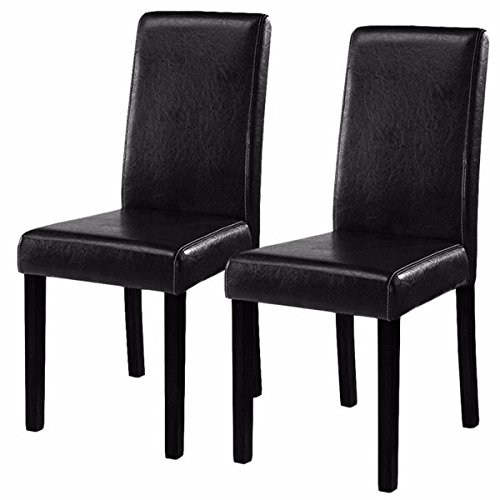 "Costway Elegant Design Leather Modern Dining Chairs Room Furniture Urban Style Solid Wood Leatherette Padded Parson Chair Kitchen Seats 21""X16""X35"" ,Black/Brown,Set of 2 (Black)"