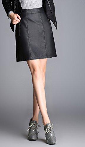 Helan Damen Hohe Taillen-Reißverschluss verzierte PU-Leder kurze Röcke xIQkqpwARK