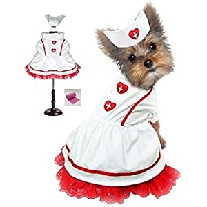 "Classic Sweetheart Nurse Uniform and Hat Costume with bags set - in Dog sizes XS thru L (S - Chest 12-14"", Neck 8.5"", Back 9.25"", White/Red)"
