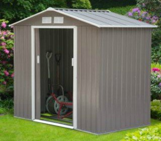 Storage Shed, Outdoor, Patio Cabinet   7x4 Ft., Metal, Color Gray