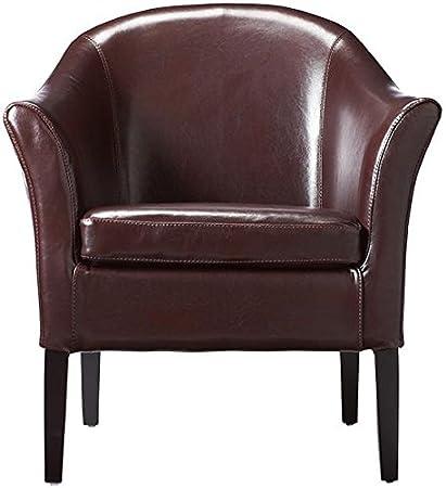Leather Monte Carlo Club Chair, STANDARD, BURGUNDY