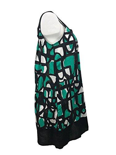 Donna Karan Dkny Imprimé Géométrique Robe De Plage De Soleil De Couverture En Coton Sans Manches, Multi Jade, Ps